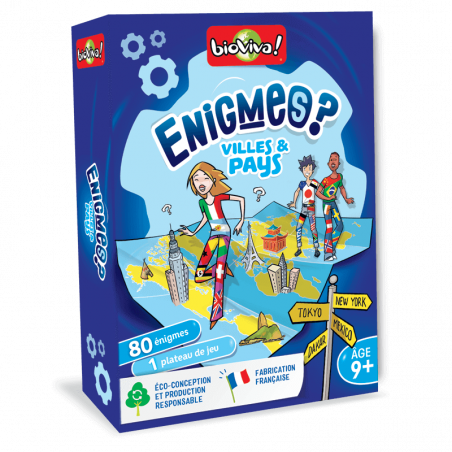 Jeux d'énigmes : Villes et Pays - Bioviva, créateur de jeux qui font du bien.